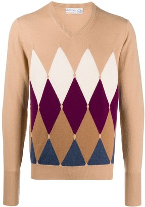Ballantyne Argyle Knit V-Neck Jumper