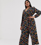 Glamorous Curve wide leg jumpsuit with tie front in bird floral