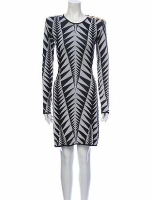 Balmain Printed Knee-Length Dress Black