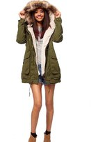 Win8Fong Womens' Warm Hooded Military Green Faux Fur Long Trench Coat Parka Overcoat (XS)
