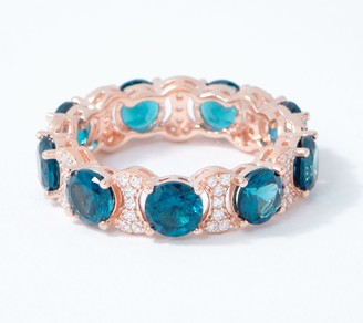 Diamonique Blue Eternity Link Band Ring, Sterling Silver