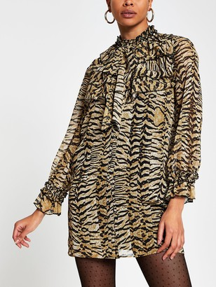 River Island Animal Print Ruffle Neck Shift Dress - Brown