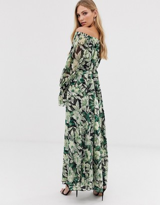 Asos Edition EDITION off shoulder printed trapeze maxi dress-Multi