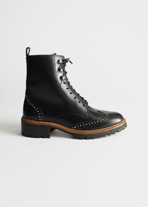 And other stories Studded Leather Brogue Boots