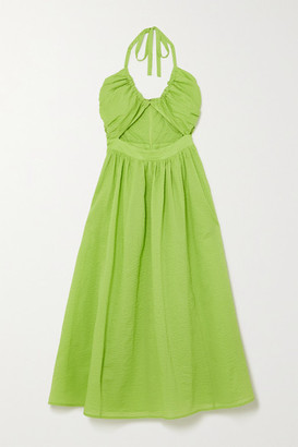 Marysia Swim Limone Cutout Cotton-seersucker Halterneck Dress - Bright green