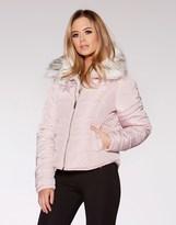 Quiz Faux Fur Collar Padded Short Jacket