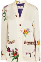 Etro Embroidered Floral-print Satin-crepe Blazer - White