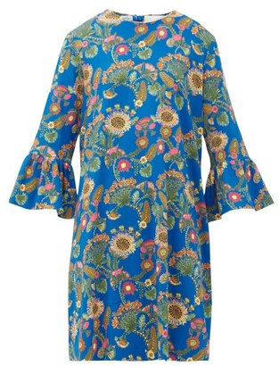 La DoubleJ 24/7 Thistle-print Trumpet-sleeve Crepe Dress - Blue Print