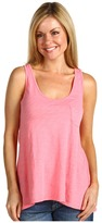 Three Dots Relaxed High Low Tank Top (Pink Coral) - Apparel