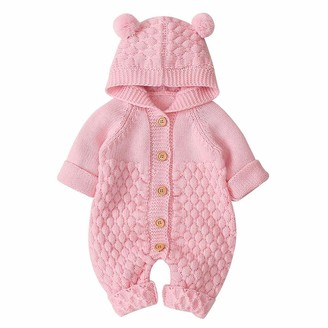 Hilmocho Baby Hooded Knitted Romper Sweater Newborn Winter Warm Cute Bear Onesies Jumpsuit Snowsuit Bodysuit Outfit for Baby Boy Girl 3-24 Months