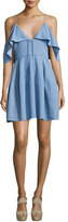 Nicholas Cold-Shoulder Chambray Mini Dress, Light Blue