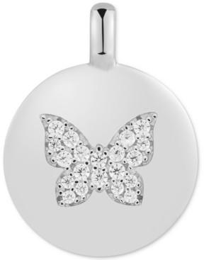 "CHARMBAR Swarovski Zirconia Butterfly ""Believe in Yourself"" Reversible Disc Pendant in Sterling Silver"