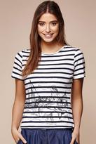 Yumi Scandi Sketch Stripe T-Shirt Ivory