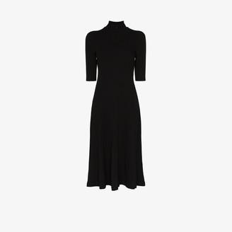 Rosetta Getty Turtleneck Cotton Midi Dress