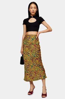 Topshop Ochre Leopard Print Maxi Bias Skirt