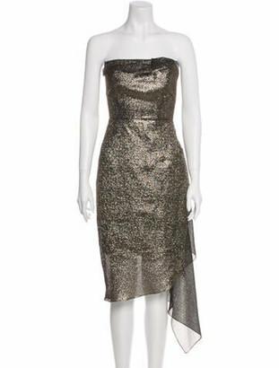 Roland Mouret Strapless Knee-Length Dress Gold