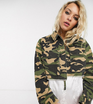 Reclaimed Vintage inspired cropped shacket in camo with pocket detail