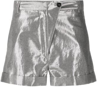 Ann Demeulemeester High Rise Metallic Shorts