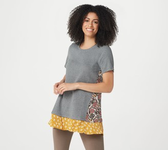 LOGO Lounge by Lori Goldstein Classic French Terry Top with Woven Panels