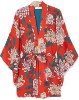 Fleur Du Mal Haori Printed Silk-crepe Kimono - Red