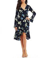 Lucy Paris Alexa Printed Bell Sleeve Maxi Wrap Dress