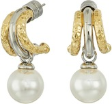 Majorica Two-Tone Hoop Post Pearl Earrings