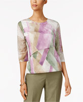 Alfred Dunner Palm Desert Embellished Printed Top