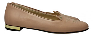 Charlotte Olympia Kitty Pink Leather Ballet flats