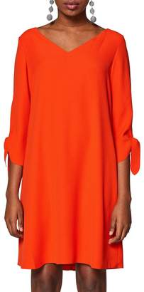 Esprit V-Neck Mid-Length Shift Dress with Tied-Sleeves
