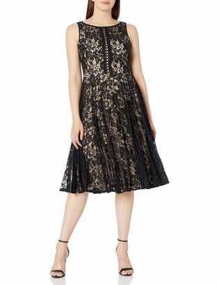Julian Taylor Women's Sleeveless All Over Lace Dress with Sunburst Pleating