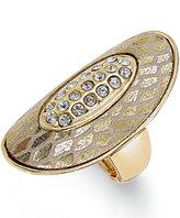 Thalia Sodi Gold-Tone Metallic Snake Print Crystal Ring