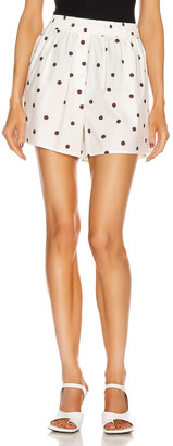 Ganni Printed Cotton Poplin Shorts in Egret | FWRD