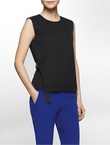 Calvin Klein Platinum Belted Sleeveless Wrap Top