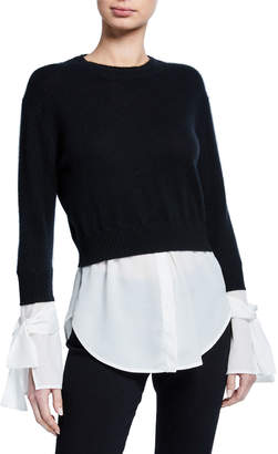 Neiman Marcus Layered Cashmere Georgette Twofer Pullover Sweater