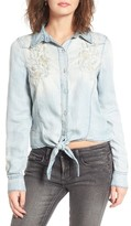 Blank NYC Women's Blanknyc Knotted Hem Chambray Shirt