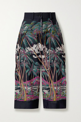 Sacai Sun Surf Diamond Head Cropped Printed Satin Wide-leg Pants - Gray
