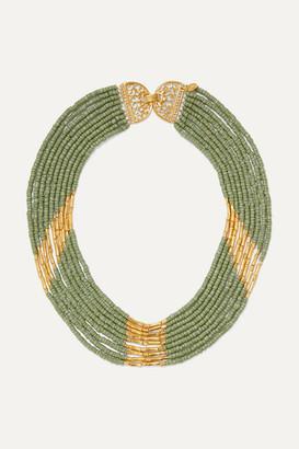 BIBI MARINI Mitu Gold-plated And Bead Necklace - Green