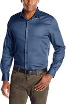 Axist Men's Solid Polished Twill Long Sleeve Woven Shirt