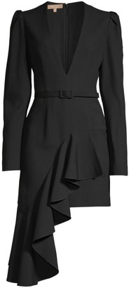 Michael Kors Asymmetric Ruffled Belted Mini A-Line Dress