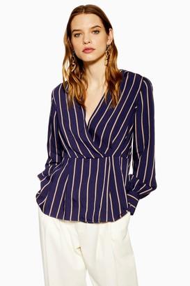 Topshop Womens Stripe Plunge Wrap Top - Blue