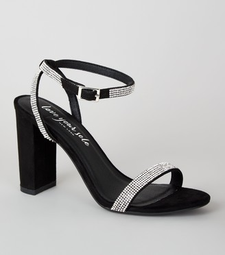 New Look Suedette 2 Part Diamante Block Heels
