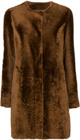Drome collarless fur effect coat - women - Leather/Cupro - S