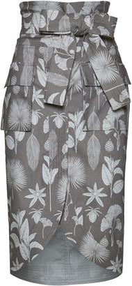 Andres Otalora Harpia Printed Cotton Pencil Skirt