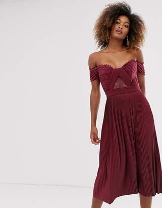 Bardot Asos Design ASOS DESIGN premium lace and pleat midi dress-Red