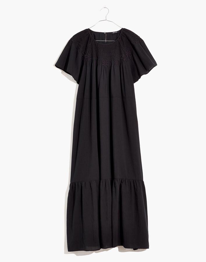Embroidered Smocked Midi Dress
