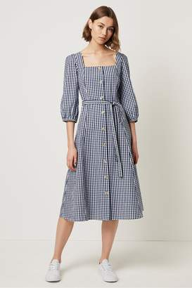 French Connection Lavande Gingham Square Neck Button Dress