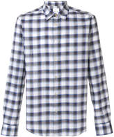 Paul Smith checked curved hem shirt