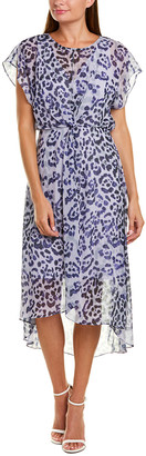 Adrianna Papell Watercolor Leopard Midi Dress