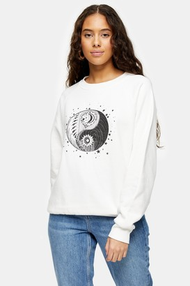 Topshop PETITE Ecru Mystical Moon Sweatshirt