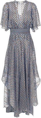 Maje Richelane Shirred Printed Metallic Jacquard Maxi Dress